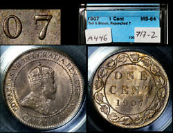 Elite Varieties Canada Large Cent 1907 Repunched 7/7 Rt/lt - Ms64 Rare A446