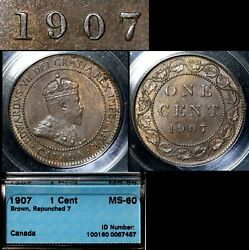 Elite Varieties Canada Large Cent 1907 Repunched 7/7 Rt/lt - Ms60 Rare A450