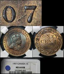 Elite Varieties Canada Large Cent 1907 Repunched 7/7 Rt/lt - Ms64 Rare A447