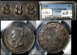 Elite Varieties Canada Large Cent 1888 Repunched 888 - Pcgs Ms62 A381