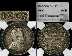 Elite Varieties Canada 25 Cents - 1907 Repunched 7/7 - Au50 Very Rare A544
