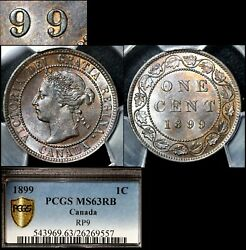 Elite Varieties Canada Large Cent 1899 Repunched 9/9 Pcgs Ms63 A437