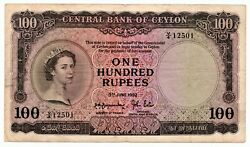 Ceylon One Hundred Rupees 3rd June 1952 Extremely Rare Qeii As Pictured