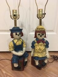 Vintage Antique Raggedy Ann And Andy Lamps Chalkware Ceramic Fast Shipping