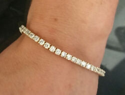 5.1 Ct F Si Ideal Cut Natural Diamond Tennis Bracelet 14k Yellow Gold 7 Inches