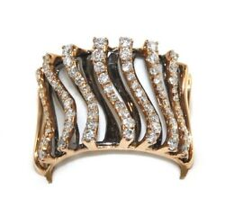 Wide Curve Diamond Cluster Pave Black Ring Band 18k Rose Gold 1.03ct