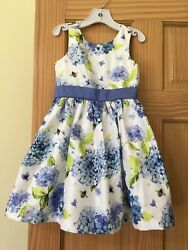 Nwt Gymboree Floral Duppioni Dress Special Occassion Wedding Easter Outlet Blue