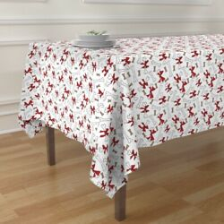 Tablecloth Dog Bones Christmas With Bows Red White Holidays Pet Cotton Sateen