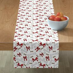 Table Runner Dog Bones Christmas With Bows Red White Holidays Pet Cotton Sateen