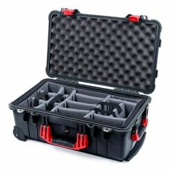 Black And Red Pelican 1510 Case With Padded Dividers Grey.