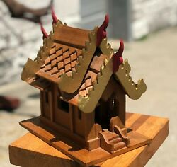 Vintage 11 Hand Painted Carved Wood Thai Indonesian Pagoda Temple Palace House