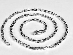 10k Solid White Gold Handmade Fashion Link Mens Chain/necklace 22 44 Grms 4.5m