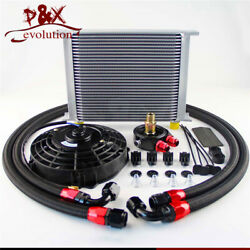 Universal 30 Row Engine Transmission 10an Oil Cooler Kits+7 Electric Fan Kit Sl
