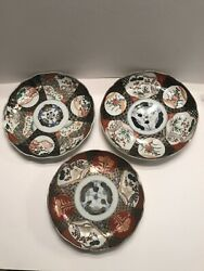 Lot Of 3 Japanese Imari Hand Painted Plates, C.1850's, Each With A Chip On Rim