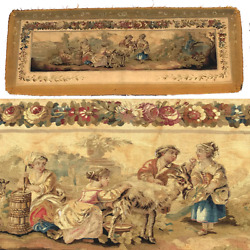 Rare 55.5 Long Antique French Aubusson Tapestry Fragment Sofa Panel Figural