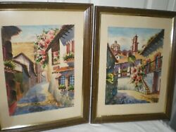 Lot 2 Vtg Francisco Signed Taxco Mexico Watercolor Painting Mexican Church Homes