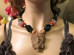 Antique Mayan Clay Mask Black Onyx Quartz Tiger Eye Ethnic Tribal Chunk Necklace