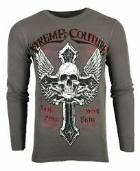 Xtreme Couture By Affliction Men Thermal Purely Devout Biker Mma Gym S-4x