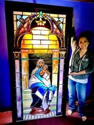 Breathtaking Stained Glass Church Window Circa 1800s!  Virgin Mary