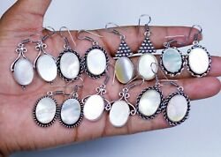 Wholesale 100 Pairs Lot Natural Mother Of Pearl Gemstone Silver Plated Earrings