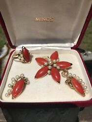Mingand039s Hawaii Red Coral And Pearl 14k Yellow Gold Brooch Ring And Earrings Set