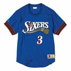 Mens Mitchell And Ness Nba Mesh Name And Number Crew Neck Allen Iverson 76ers