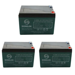 3 Pack Of 6-dzm-12 12v 12ah Sealed Lead Acid Battery With Nut And Bolt Terminal