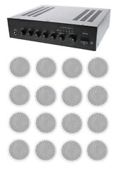 Store/office Business Background Music And Paging Sound System- Amp, 16 Speakers +