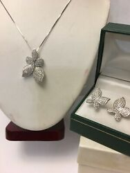 Vintage 14k White Gold Diamond Necklace And Earring Set
