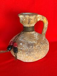 Vintage Mexico Pottery Rope And Bead Raku Pitcher Urn Jug Unique And Rare 7/7 ❤️sj3j