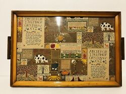 Vintage Primitive Wood Serving Tray Abc Bible Verse Wall Art Country Fall Decor