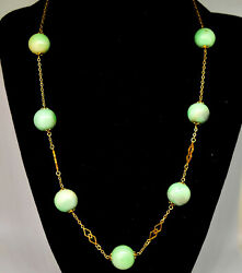 Chinese 14k Solid Gold And Natural Untreated/undyed Jade Beads Necklace