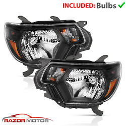 For [trd Style] 2012 2013 2014 2015 Toyota Tacoma Black Headlights Pair