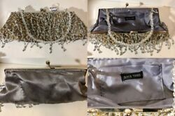 Bjoux Terner Silver Clutch Bag With Sequins And Beads. $14.50