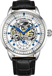 Stuhrling Executive Automatic Skeleton Menand039s Self Wind Leather Strap Watch