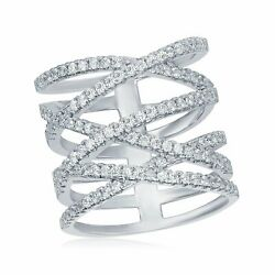 OMG Jewelry 925 Sterling Silver Long #x27;X#x27; Criss Cross Ladies CZ Ring Cubic... $19.99