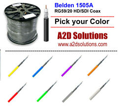 1000and039 Belden 1505a Rg59/20 Hd And Sdi Digital Coaxial Cable - Multiple Colors