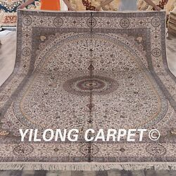 Yilong 9'x12' Large Hand-knotted Vintage Carpet Quality Handmade Silk Rug L168A