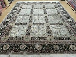 8and039 X 10and039 Vintage Ultra Fine Hand Made Pakistani Panel Wool Rug Carpet Beige Nice