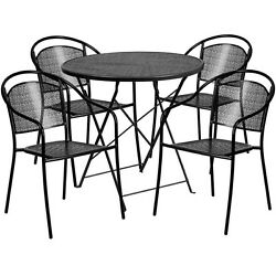 30'' Black Indoor-outdoor Folding Patio Restaurant Table Set With 4 Metal Chairs