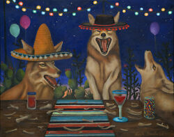 Party Coyote's Coyote Humor Laughing Drinking Sombrero Hat Blanket Mexican Glass