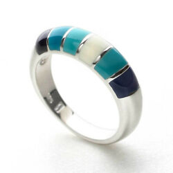 Sterling Silver Blue And White Enamel Ring