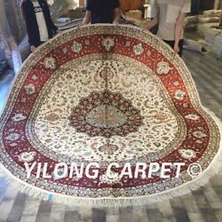Yilong 9and039x9and039 Circle Hand Knotted Silk Carpets Large Blue Round Area Rug W134c