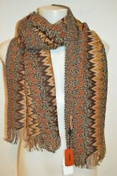 Missoni Man's Wool Blend Zig Zag Scarf New  Size 18 In X 76 In Made In Italy