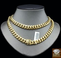 10K Gold Chain For Mens Necklace 11mm 21 Inch Box Lock Strong Miami Cuban Link