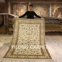 Yilong 5'x8' Antique Handmade Silk Rugs Flowers Hand Knotted Parlor Carpet 166ab