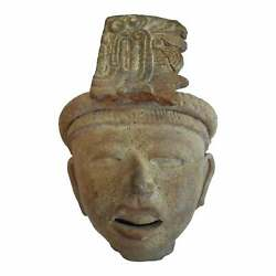 Mayan Pre-columbian Terra-cotta Bust With Feathered Headdress 400-700 Ce