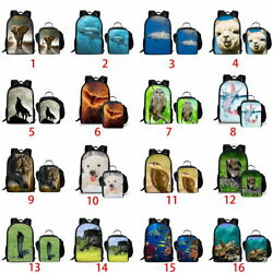 Alpaca Wolf Horse Backpack Set Boys Girls School Lunch Pencil Bag Laptop Satchel