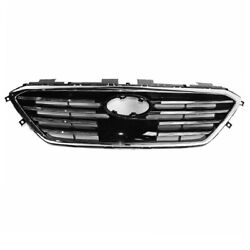 For 15-17 Sonata W/auto Cruise Front Grill Grille Assembly Black/chrome Molding