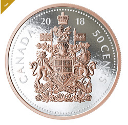 2018 5 Oz. Pure Silver Coin Big Coin Series 50-cent Coin Canadian Coat Of Arms